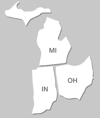Wisconsin, Illinois, Michigan, Indiana, Ohio